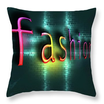 Colorful Word Fashion On Blue Reflecting Metallic Background. Throw Pillow