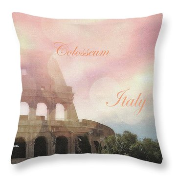 Throw Pillow featuring the mixed media Colosseum Rome Italy Romantic Version by Johanna Hurmerinta