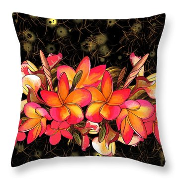 Coloured Frangipani Black And Gold Background Throw Pillow