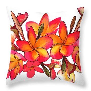 Coloured Frangipani White Bkgd3 Throw Pillow