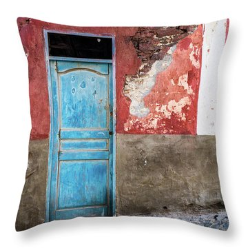 Colorful Wall With Blue Door Throw Pillow