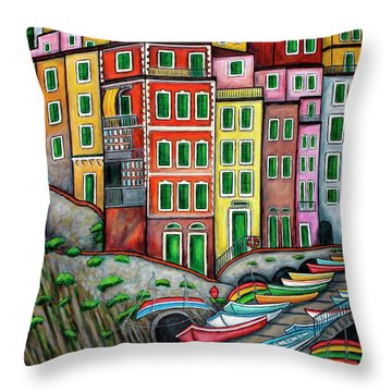 Colours Of Riomaggiore Cinque Terre Throw Pillow