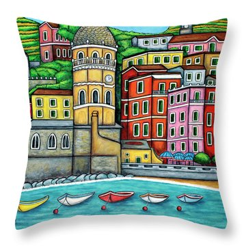 Colours Of Vernazza Throw Pillow