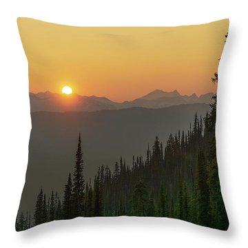 Columbia Mountain Sunset Throw Pillow