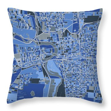 Columbus Map Retro 5 Throw Pillow
