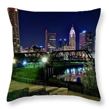 Columbus Night On The Scioto Riverfront Throw Pillow