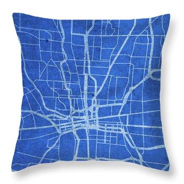 Columbus Ohio City Street Map Blueprints Throw Pillow