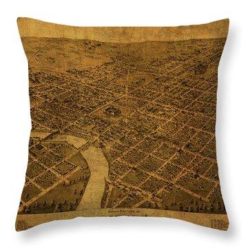 Columbus Ohio Vintage City Street Map 1872 Throw Pillow