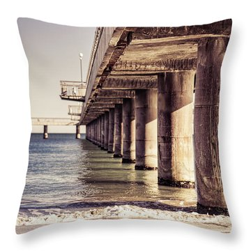 Columns Of Pier In Burgas Throw Pillow