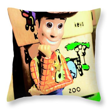 Comic Cowboy Throw Pillow