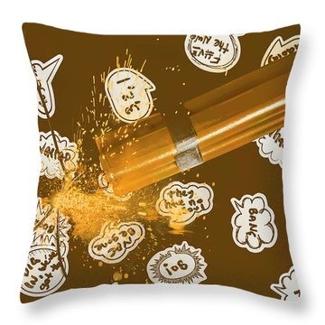 Comical Charge Throw Pillow