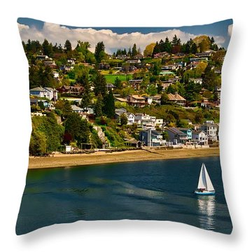 Commencement Bay,washington State Throw Pillow