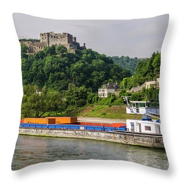 Commerce Along The Rhine Throw Pillow