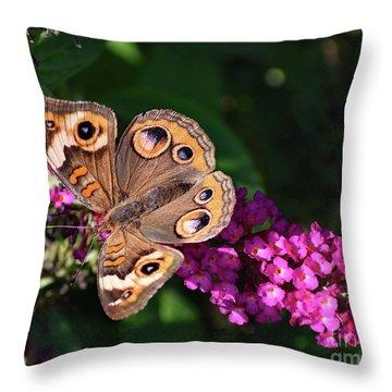 Common Buckeye On Pink Butterfly Bush Throw Pillow