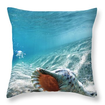 Conch Shell Bubbles Throw Pillow