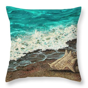 Throw Pillow featuring the painting Conch Shell by Darice Machel McGuire