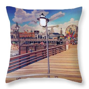 Coney Island Boardwalk Pillow Mural #1 Throw Pillow
