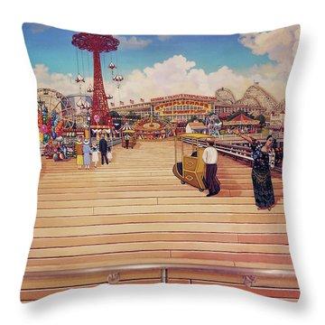Coney Island Boardwalk Pillow Mural #2 Throw Pillow