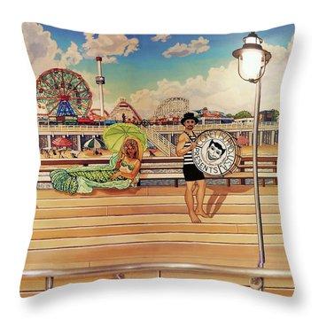 Coney Island Boardwalk Pillow Mural #4 Throw Pillow