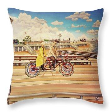 Coney Island Boardwalk Pillow Mural #5 Throw Pillow