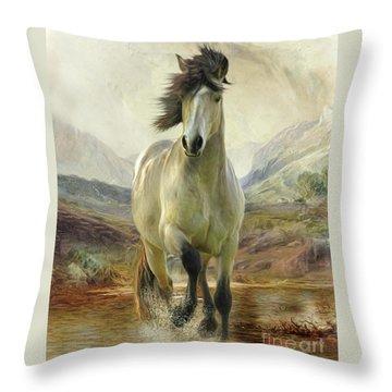 Connemara Pony Of The Moors Throw Pillow