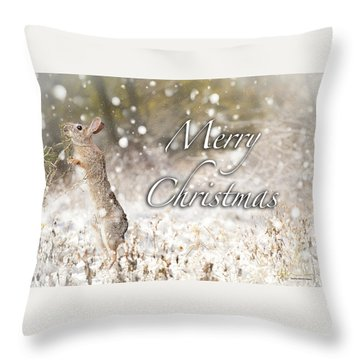 Conttontail Christmas Throw Pillow