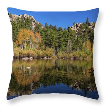 Throw Pillow featuring the photograph Cool Calm Rocky Mountains Autumn Reflections by James BO Insogna