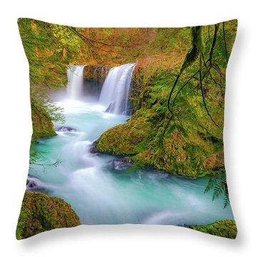 Cool Mountain Water Flows Outward To The Sea Throw Pillow