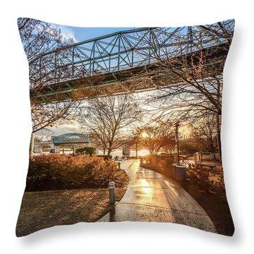 Coolidge Park Path At Sunset Throw Pillow