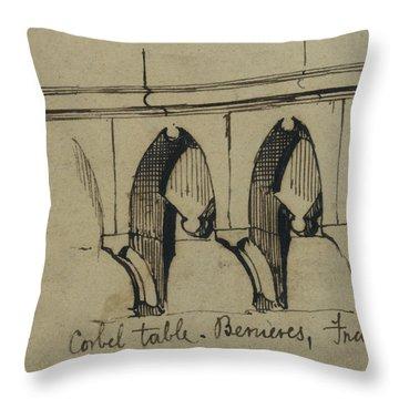 Corbel Table - Benieves, France Throw Pillow
