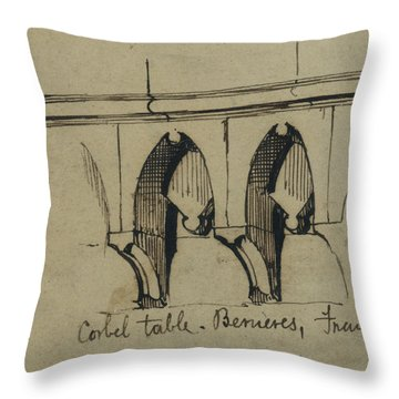 Corbel Table - Benieves, France Throw Pillow