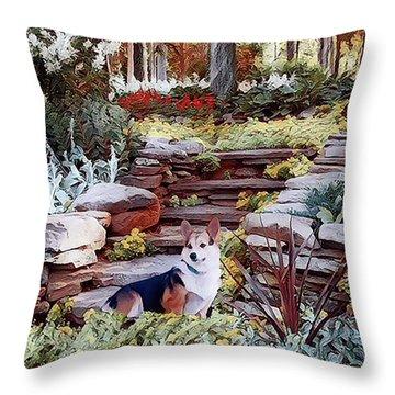 Corgi At Highgarden Throw Pillow