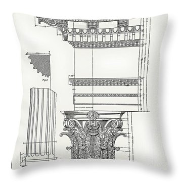 Throw Pillow featuring the drawing Corinthian Architecture by James Fannin