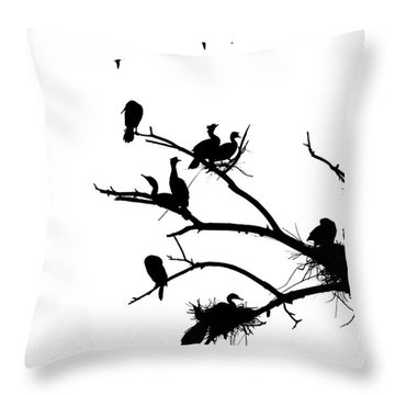 Cormorant's In Silhouette Throw Pillow