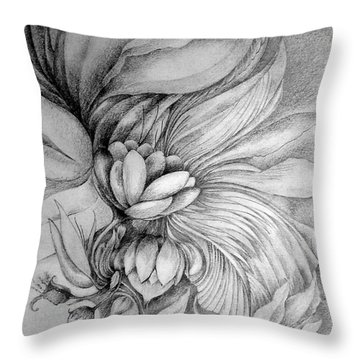Throw Pillow featuring the drawing Cornucopia by Rosanne Licciardi