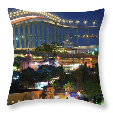 Coronado Bay Bridge Shines Brightly As An Iconic San Diego Landmark Throw Pillow