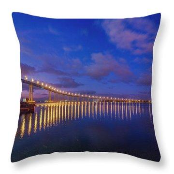Coronado Bridge Sunrise - Panorama Throw Pillow