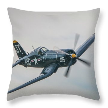 Throw Pillow featuring the photograph Corsair Approach by Tom Claud