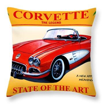 Corvette C1-the Legend Throw Pillow