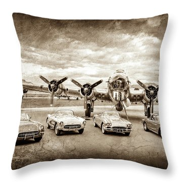 Throw Pillow featuring the photograph Corvettes And B17 Bomber -0027cl2 by Jill Reger