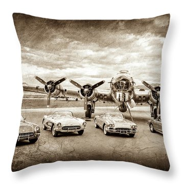 Corvettes And B17 Bomber -0027s Throw Pillow
