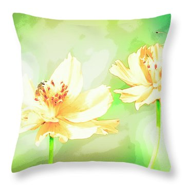 Cosmos Flowers, Bud, Butterfly, Digital Painting Throw Pillow