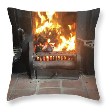 Cosy Winter Fire Throw Pillow