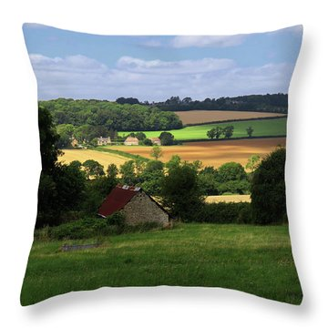 Throw Pillow featuring the photograph Cotswold Field England 81601 by Rick Veldman