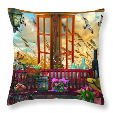 Cottage At The Beach Watercolor Painting Throw Pillow