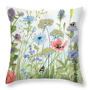 Cottage Flowers And Bees Throw Pillow
