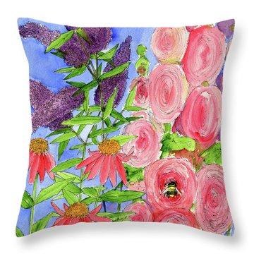 Cottage Garden Hollyhock Bees Blue Skie Throw Pillow