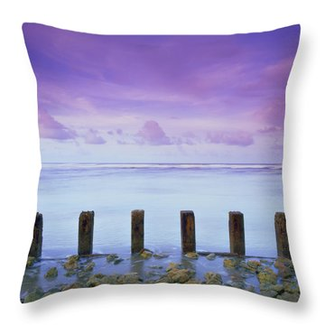 Cotton Candy Skies Over The Sea Throw Pillow