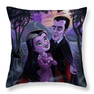 Count And Countess Dracula During Halloween Evening Throw Pillow