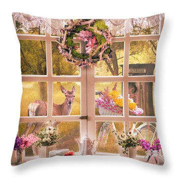 Country Cottage At Sunrise Throw Pillow